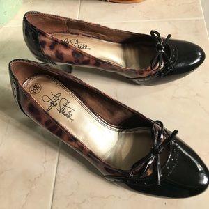 👞New Leopard print & Black shoes Sz 8M!! 🥿